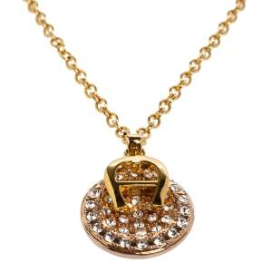 Aigner Logo Crystal Two Tone Metal Pendant Necklace