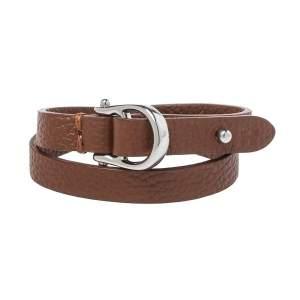 Aigner Brown Leather Double Tour Logo Bracelet