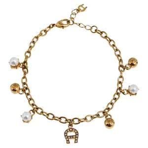 Aigner Gold Tone Faux Pearl Charms Bracelet