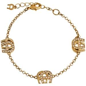 Aigner Crystal Gold Tone Station Bracelet