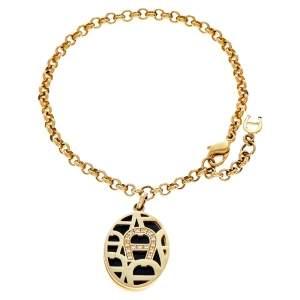 Aigner Gold Tone Enamel & Crystal Logo Charm Bracelet