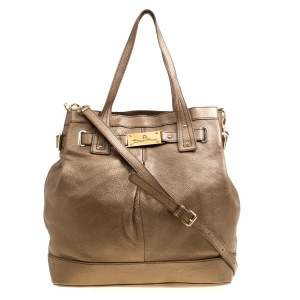 Aigner Metallic Brown Pebbled Leather Logo Tote