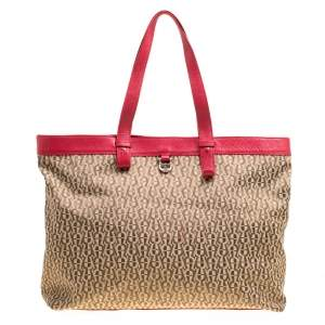 Aigner Beige/Red Signature Canvas Shopping Tote