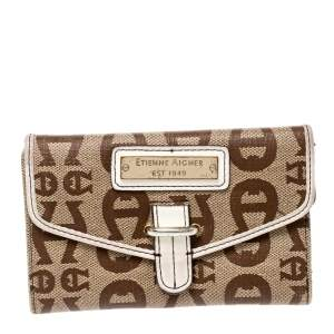 Aigner Beige Signature Coated Canvas Compact Wallet