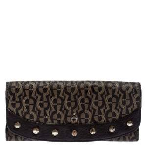 Aigner Brown Signature Coated Canvas Continental Wallet