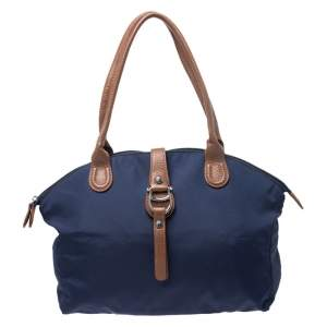 Aigner Navy Blue Nylon Piccolina Tote