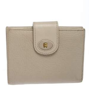 Aigner Ivory Leather Flap Compact Wallet