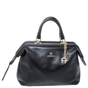 Aigner Black Leather Boston Bag