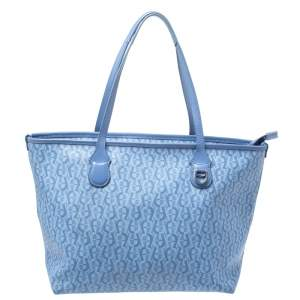 Aigner Blue Signature Coated Canvas Shopper Tote