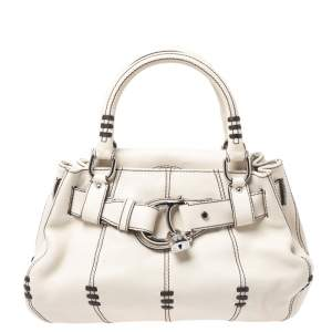 Aigner Off White Leather Buckle Padlock Bag