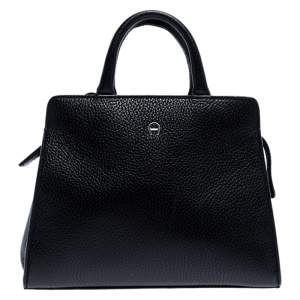 Aigner Black Leather Cybill Tote