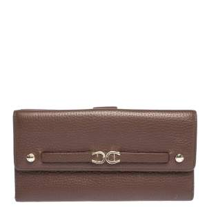 Aigner Brown Leather Logo Buckle Flap Continental Wallet