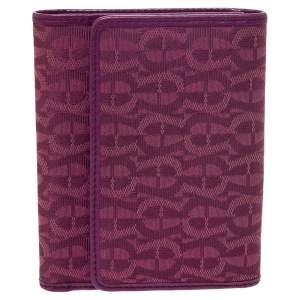 Aigner Magenta Canvas and Leather Trifold Wallet