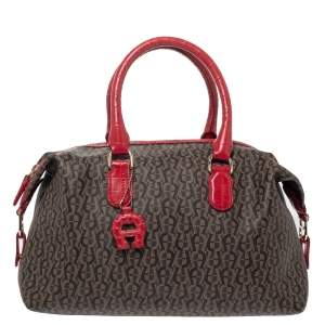 Aigner Brown/Red Signature Coated Canvas and Leather Satchel
