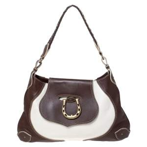 Aigner Dark Brown/White Leather Logo Buckle Flap Shoulder Bag