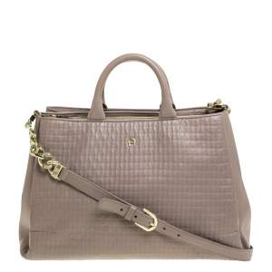 Aigner Grey Leather Middle Zip Tote