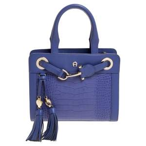 Aigner Lavender Crocodile Embossed Leather Cavallina Top Handle Bag