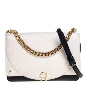 Aigner Black/White Leather Diaodara Shoulder Bag