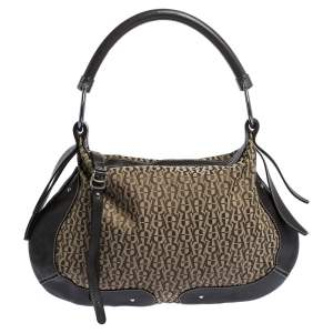 Aigner Brown Signature Canvas and Leather Zip Hobo