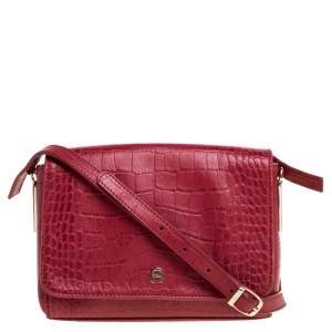 Aigner Red Croc Embossed Leather Crossbody Bag