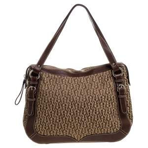 Aigner Brown Signature Canvas and Leather Satchel