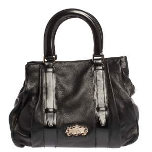 Aigner Black Leather Metal Plaque Tote