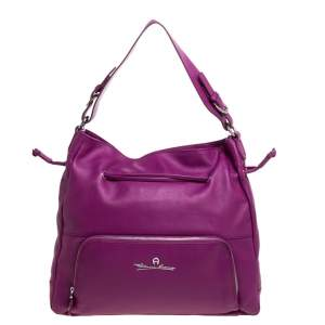 Aigner Purple Leather Drawstring Top Handle Bag