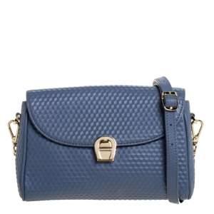 Aigner Blue Embossed Leather Genoveva Crossbody Bag