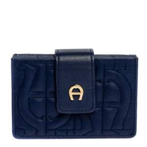 Aigner Blue Quilted Leather Card Holder