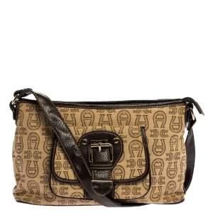 Aigner Brown/Beige Signature Canvas and Leather Pocket Buckle Shoulder Bag