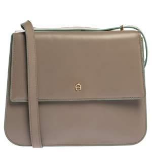 Aigner Grey/Turquoise Leather Flap Triple Compartment Shoulder Bag