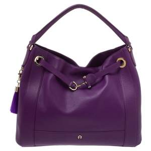 Aigner Purple Leather Cavallina Hobo