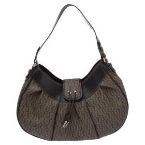 Aigner Brown Monogram Coated Canvas and Leather Hobo
