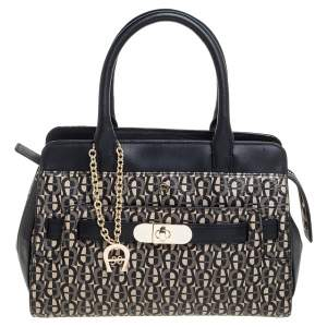Aigner Black/White Coated Canvas and Leather Turn Lock Satchel