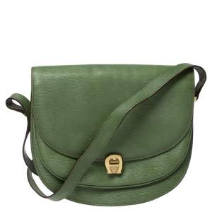 Aigner Green Leather Logo Flap Crossbody Bag