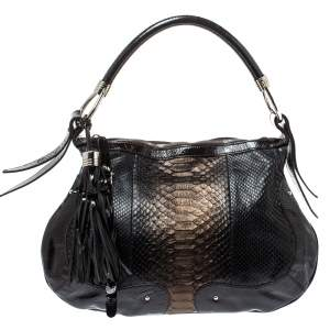 Aigner Dark Brown Python and Patent Leather Tassel Hobo