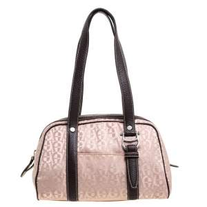 Aigner Brown Nylon and Leather Trim Signature Print Travel Collection Mini Satchel