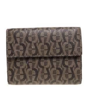 Aigner Brown Signature Coated Canvas French Wallet