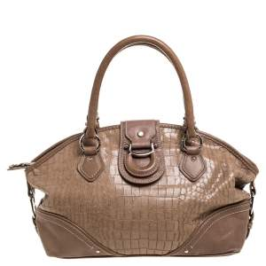 Aigner Brown Croc Embossed Leather Buckle Flap Dome Satchel