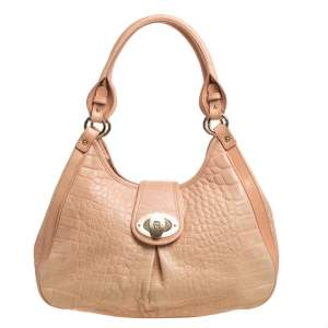 Aigner Peach Croc Embossed Leather Logo Turnlock Shoulder Bag