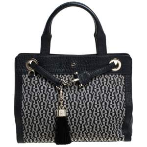 Aigner Black Signature Canvas and Croc Embossed Leather Cavallina Tote