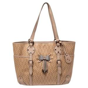 Aigner Beige/Pink Signature Coated Canvas and Leather Bow Tote