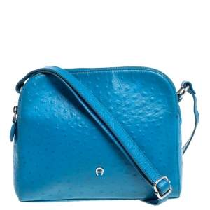 Aigner Sky Blue Ostrich Embossed Leather Double Zip Shoulder Bag