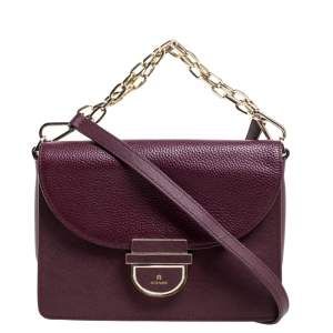 Aigner Burgundy Leather Flap Shoulder Bag