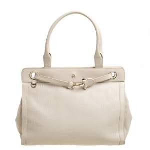 Aigner Cream Leather Cavallina Tote