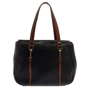 Aigner Black/Brown Grained Leather Logo Metal Handle Tote