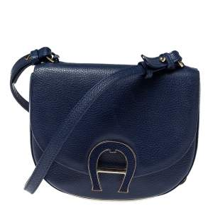 Aigner Blue Grained Leather Mini Pina Crossbody Bag