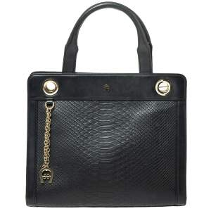Aigner Black Python Embossed Leather Cavallina Top Handle Bag