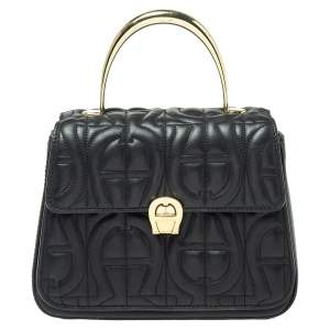 Aigner Black Signature Leather Genoveva Top Handle Bag