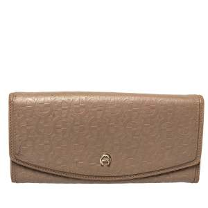 Aigner Dark Beige Monogram Embossed Leather Flap Continental Wallet